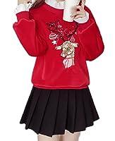 Tootess 金のビロードの偽の2つのスパンコール刺繍スウェットシャツの厚い女性 Red XS
