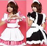 定番メイド服    コスチューム/コスプレ/衣装/メイドさん  黒 ピンク 2カラー選択可 (XL, ブラック)