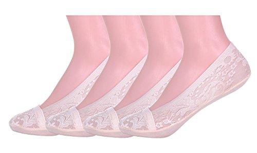 フットカバー 脱げない レディース セット 靴下 ソックス 浅履き 滑り止め付き 柄4 ピンク 4足