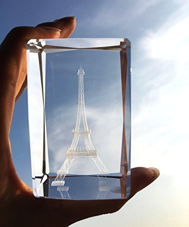 3d EiffelタワーPaperweight (レーザーエッチング) inクリスタルガラスキューブ誕生日/クリスマスロマンチックギフト( no含まLEDベース) ( 3.2 X 2.1 X 2.1