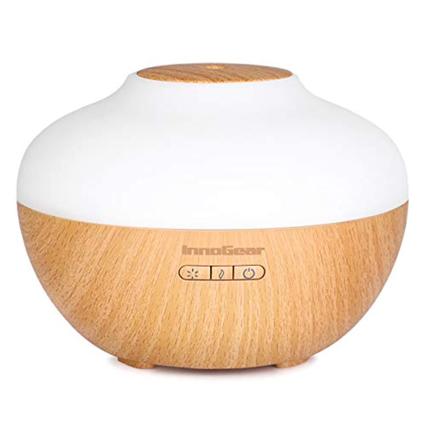 安定フリンジ百年InnoGear 7色で2019プレミアム300ミリリットルアロマエッセンシャルオイルディフューザー木目超音波クールミスト加湿器 ホームオフィス 寝室 ヨガスパ用ライト 水なしオートシャットオフを主導しました