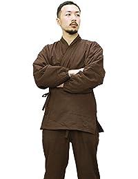 男性用フリース作務衣 裏フリース 中綿入り フリース 作務衣 4カラー(茶、紺、黒、緑) S/M/L/LLサイズ 秋冬用 kyt
