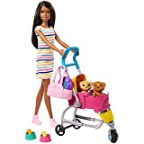 Barbie Stroll 'n Play Pups Playset with Brunette Barbie Doll (11.5-inch), 2 Puppies, Pet Stroller and Accessories, Gift for 3 to 7 Year Olds  (GHV93)