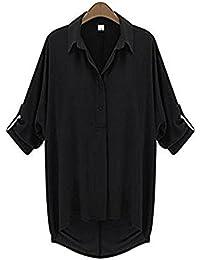 (アナトレ)Anotre レディース シフォン ブラウス ルーズ ロング スリーブ 長袖 7分袖 (ホワイト、ブラック、モスグリーン M ー4XL)