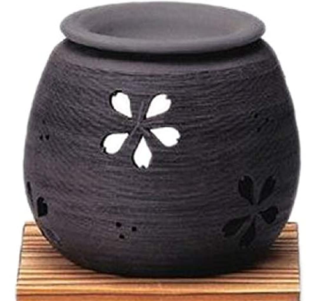 ゆり叙情的な治世常滑焼 4-368 石龍黒泥桜茶香炉 石龍φ11×H9㎝