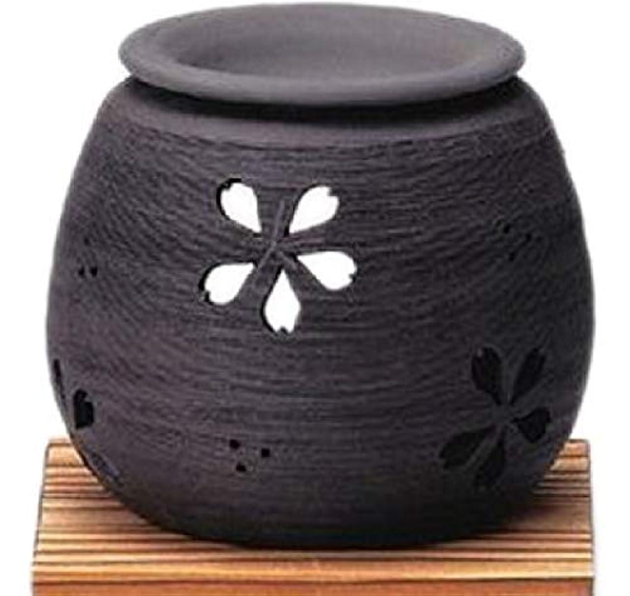 合理的大胆な精度常滑焼 4-368 石龍黒泥桜茶香炉 石龍φ11×H9㎝