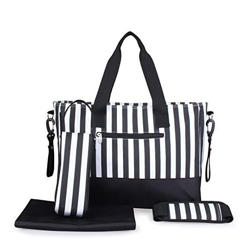 Violet Mist Baby Diaper Changing Bag Messenger Stripe Ladies Tote Handbag, Black by Violet Mist
