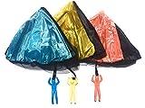 [ASPALAND] 手 投げ ミニ パラシュート 子供 向け 知育 教育 玩具 3色 3個 セット