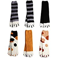 6 Pairs Women's Cat Claw Socks Fluffy Cozy Slipper Socks Winter Warm Indoor Plush Home Sleeping