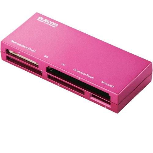 ELECOM カードリーダライタ USB2.0対応 ケーブル収納 SD+MS+CF+XD対応 ピンク MR-K008PN