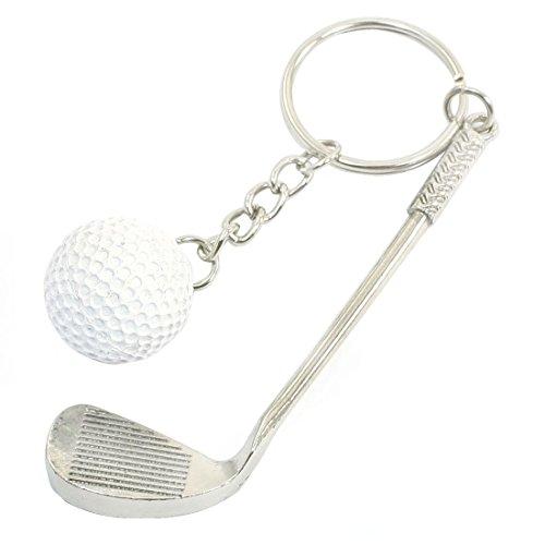 SODIAL(R) ホワイトラウンドボールゴルフスティックデコレーション スプリットリングキーホルダ...