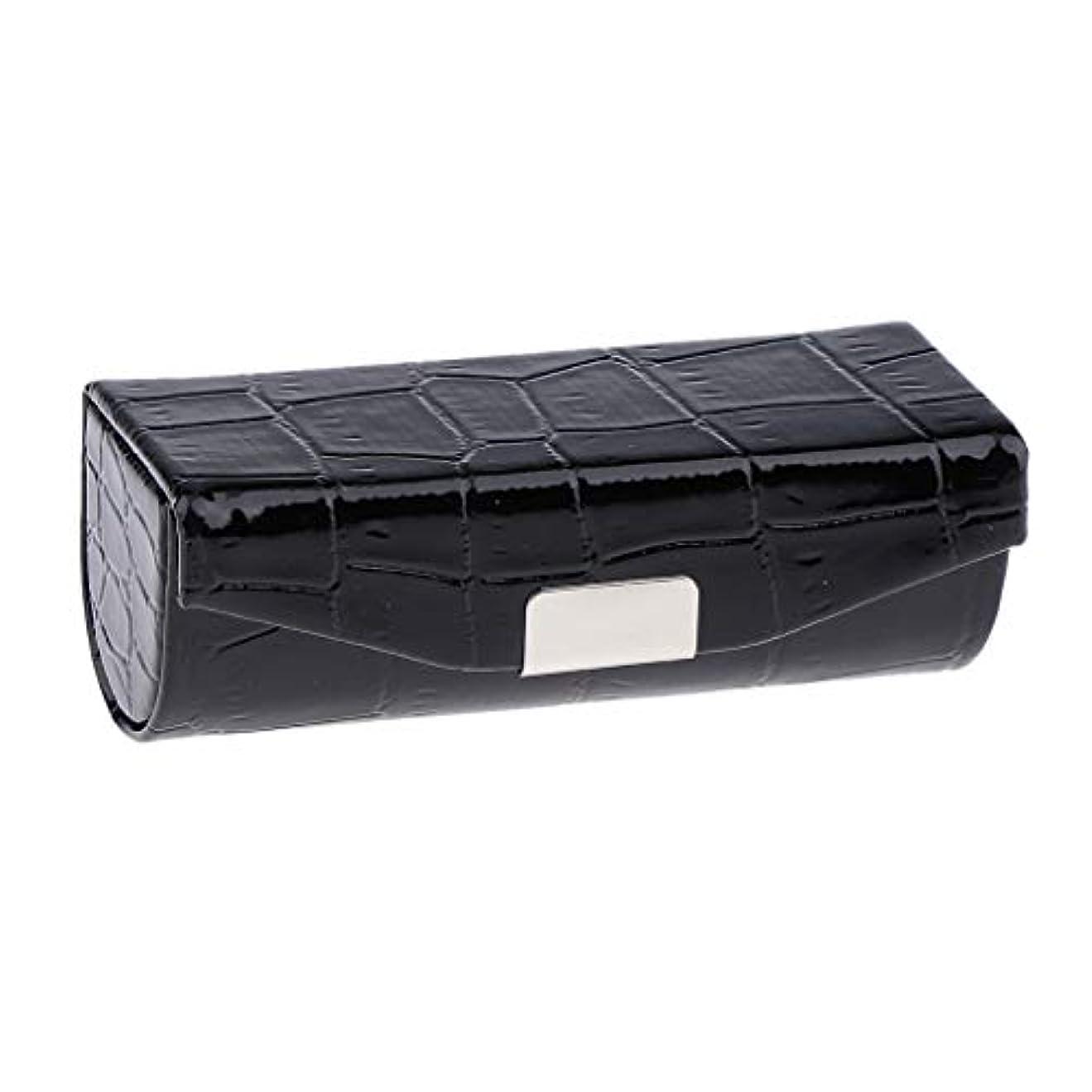 温度フィドル大学生Sharplace 口紅ケース 小物収納ケース プレゼント ミラー付き 多色選べ - ブラック