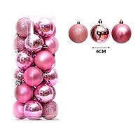 クリスマスの飾りオーナメント複数の色装飾ボールクリスマスツリーのペンダント24PCSお祝いのデコレーションボール、 (Color : Pink, Size : 6CM)