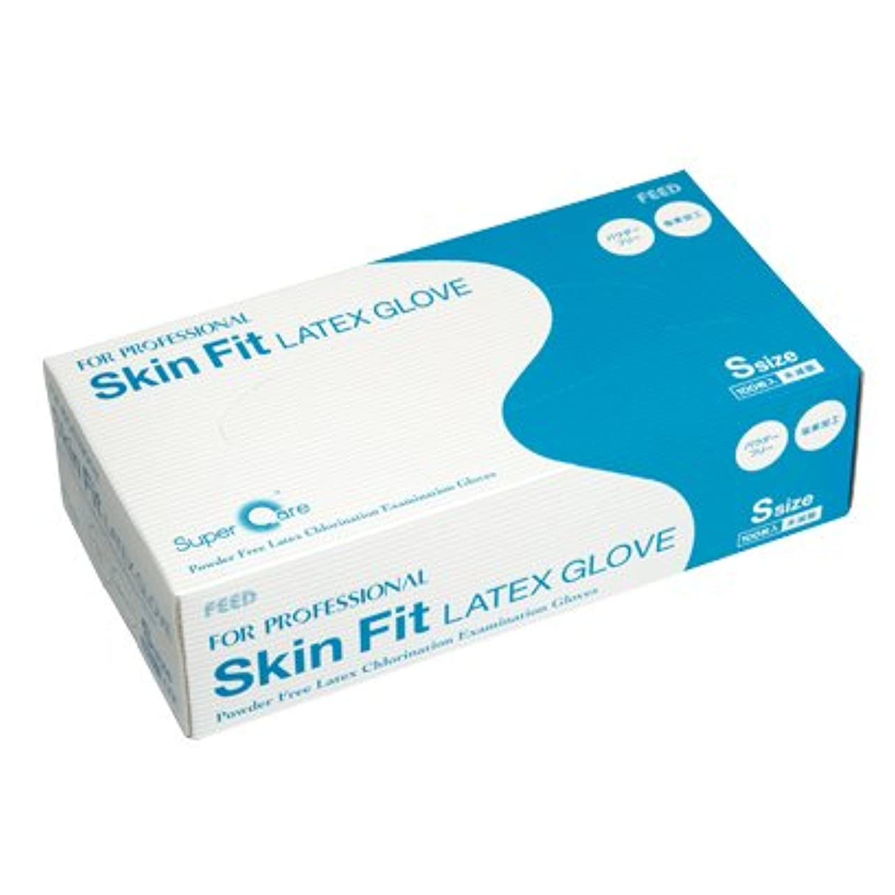 サスペンドバターいとこFEED(フィード) Skin Fit ラテックスグローブ パウダーフリー 塩素加工 S カートン(10ケース) (医療機器)
