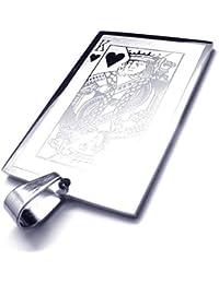 [テメゴ ジュエリー]TEMEGO Jewelry メンズステンレススチールヴィンテージペンダントキングハーツのカードポーカーネックレス、シルバー[インポート]