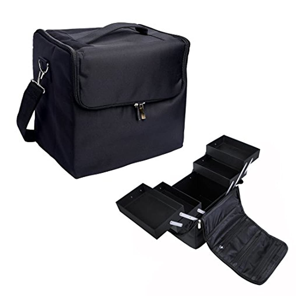 申請者カメ出会い[プロ仕様]Hapilife メイクボックス トレイ付き プロ用 化粧品収納 ブラック