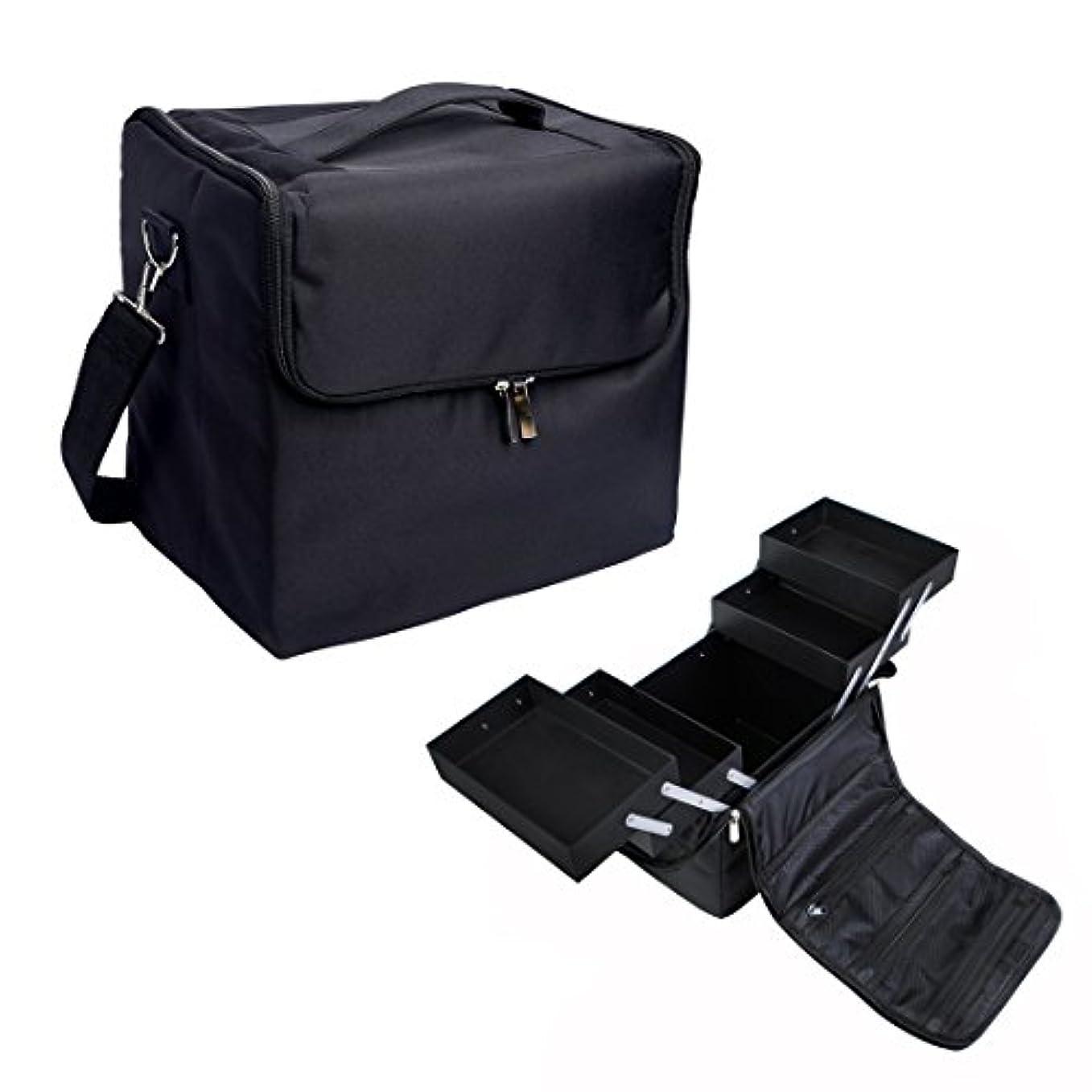 [プロ仕様]Hapilife メイクボックス トレイ付き プロ用 化粧品収納 ブラック