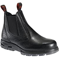 Redback Men's Work Boots Easy Escape Steel Toe Black Rambler Leather Slip On USBBL