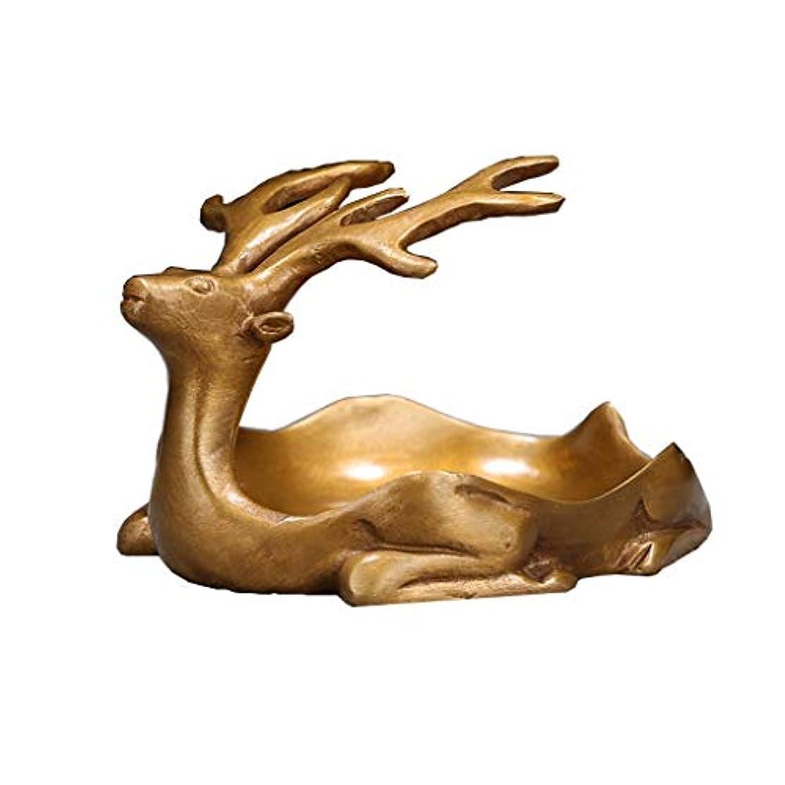 ネーピアピアニスト冷蔵庫芳香器?アロマバーナー 純粋な銅アンティーク子鹿香バーナーホーム屋内香ビャクダン茶セレモニー香バーナー装飾 アロマバーナー (Color : Brass)
