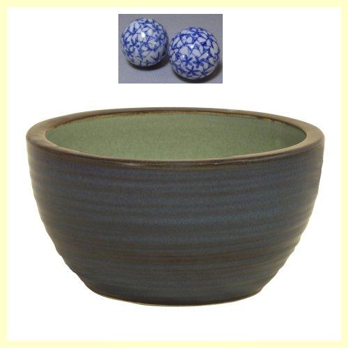 N10-504W 信楽焼 陶器 生子ひねりボウル水鉢 10号 (浮き玉2個付です)