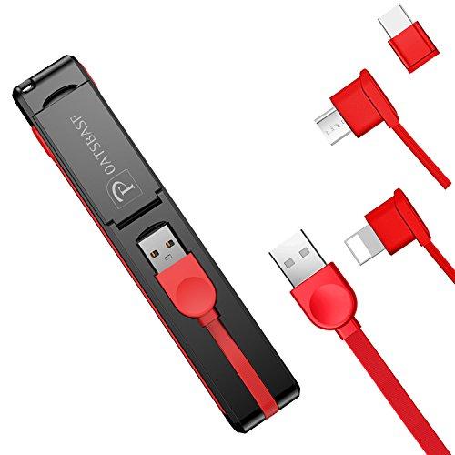 OATSBASF 3in1充電ケーブル 折りたたみ式 iPhone充電ケーブル1本3役 USB充電ケーブル コンパクト 充電コード スタンド機能 可愛い 軽量 持ち運び 旅行 お出かけ アンドロイドケーブル iPhone/Type-C/Android usb充電ケーブル スマホ/タブレット充電ケーブル (M3in1-ブラック+レッド)
