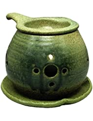 常滑焼 ?40-02 茶香炉間宮窯  皿付    径14×10