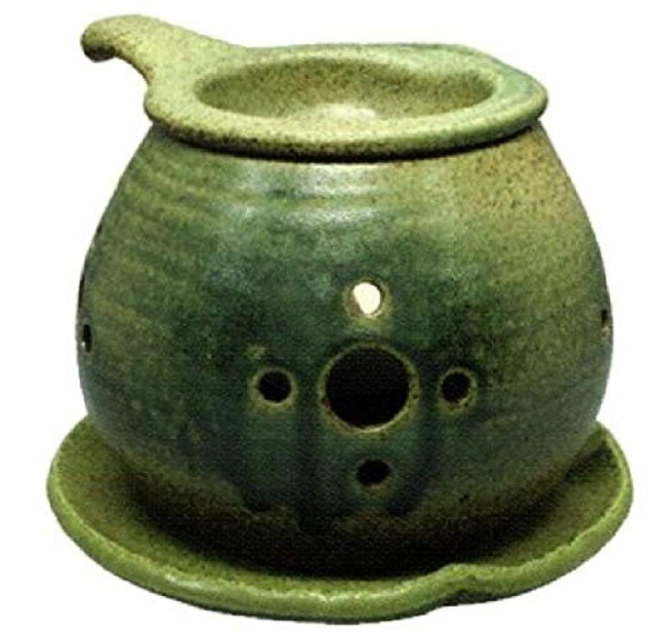 道徳つまずく旅行者常滑焼 ?40-02 茶香炉間宮窯  皿付    径14×10