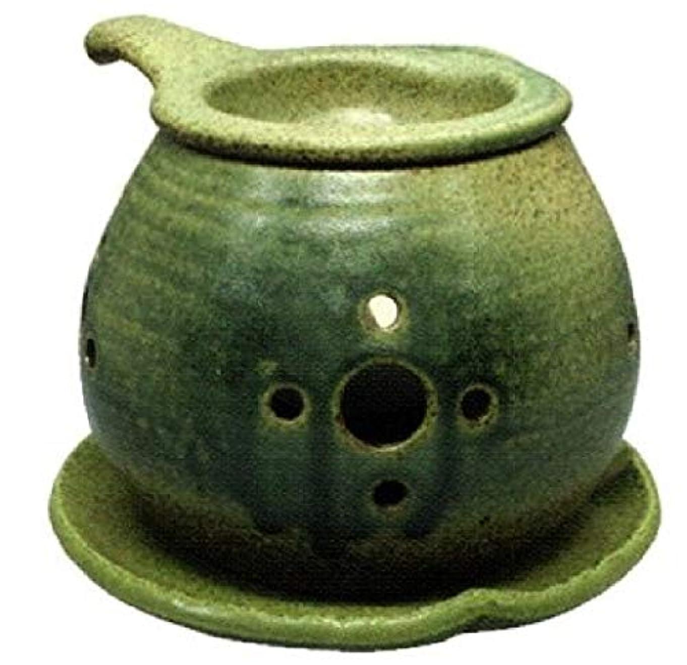 はっきりとサラミタッチ常滑焼 ?40-02 茶香炉間宮窯  皿付    径14×10