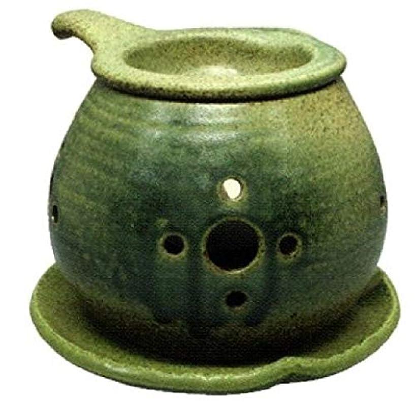 糸水を飲む礼拝常滑焼 ?40-02 茶香炉間宮窯  皿付    径14×10