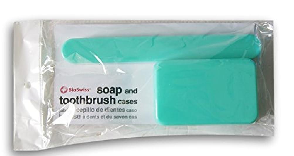 郵便局偽造戸惑うBioSwiss Soap、歯ブラシTravel Cases ブルー
