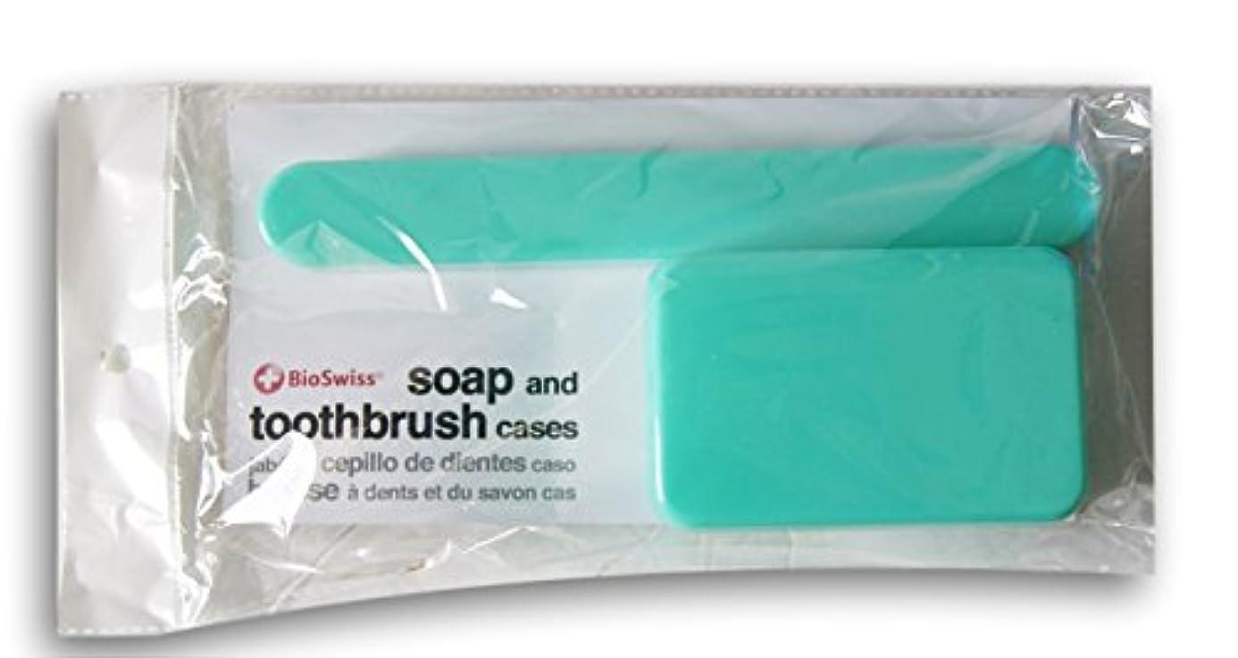に慣れ旅行代理店緯度BioSwiss Soap、歯ブラシTravel Cases ブルー