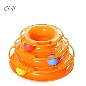 [Civil] 猫 おもちゃ 回転 タワー 遊ぶ盤 電池不要 猫用玩具 運動不足 ストレス 解消 (オレンジ)