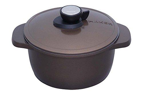 アイリスオーヤマ 両手鍋 無加水鍋 20cm IH対応 ブラウン MKSN-P20