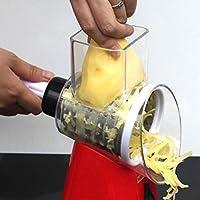 多機能手動切断アーティファクトハンドプッシュロータリーシュレッダー装置キッチンガジェットアクセサリーポータブル(赤)