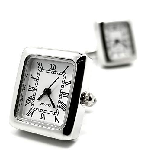MFYS Jewelry シルバー スクエア ミニ クォーツ 時計カフス【専用収納ケース付き】