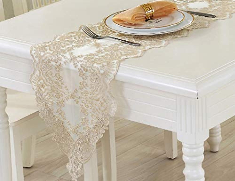 レース テーブルランナー ホームデコレーション 豪華 工芸品 おしゃれ 長方形 エレガント 結婚式 クリスマス (Color : Gold, Size : 30*280cm)