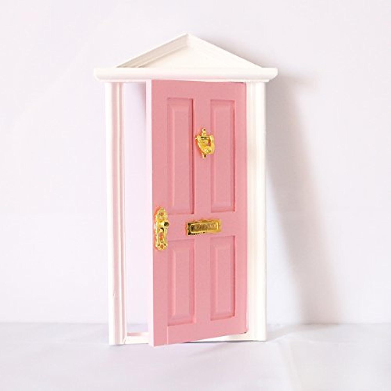 【ノーブランド品】 1/12スケール ドア ドールハウス ミニチュア ハードウェア 木製 家具 装飾 全6色 - ピンク