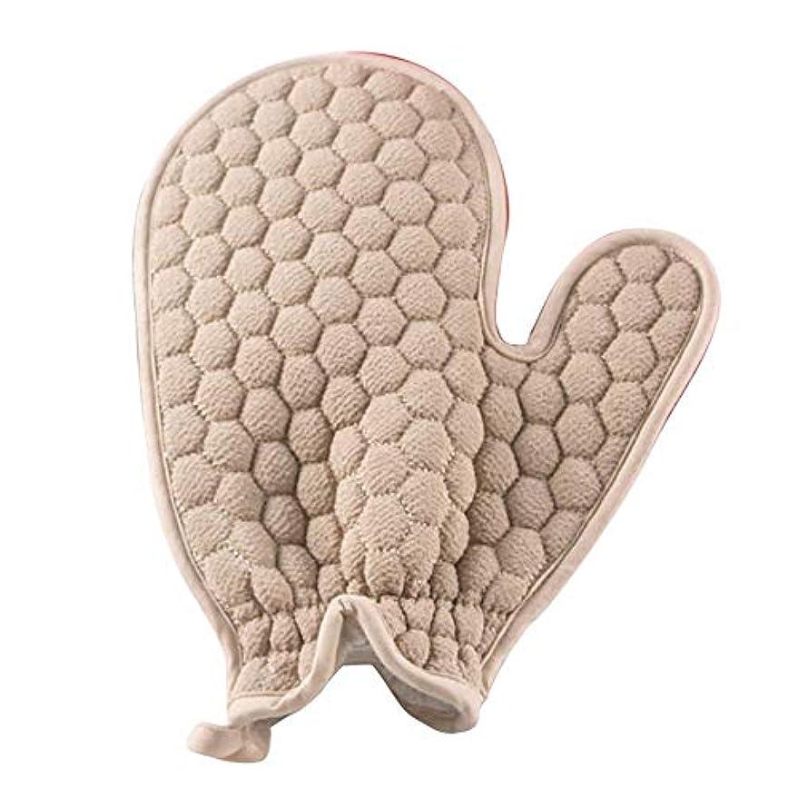 深さプレビューエスニックBTXXYJP お風呂用手袋 あかすり シャワー手袋 ボディブラシ やわらか ボディタオル 角質除去 (Color : Gray-A)