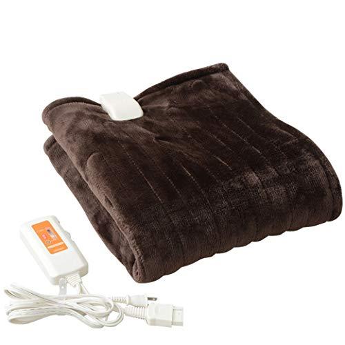 [山善] ふわふわもこもこ 電気ひざ掛け毛布 (丸洗い可能) 120×60cm 表面フランネル 裏面プードルタッチ仕上げ ブラウン YHK-43P(T) [メーカー保証1年]