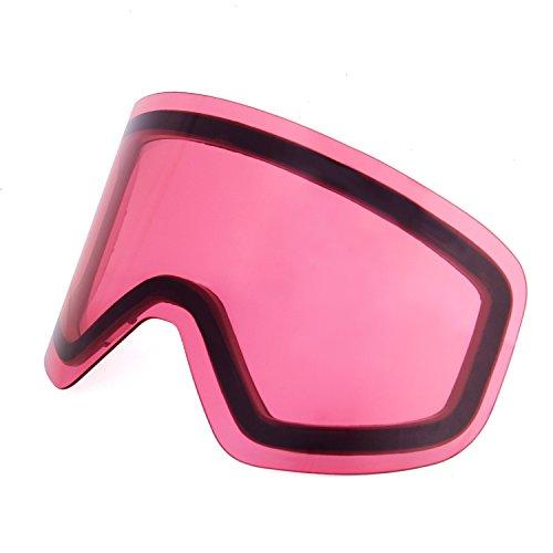 Unigear スキーゴーグル 交換用レンズ スノボートゴーグル用 100%UVカット 曇り止め ダブルレンズ 耐衝撃 防塵 防風 防雪 登山/スキー/バイク/アウトドアスポーツに全面適用 男女兼用 (ピンク VLT42%)