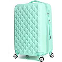High Quality Diamond Lines Trolley Suitcase/travell Case Luggage/Pull Rod Trunk Rolling Spinner Wheels/ABS+PC Boarding Bag (Color : Yellow, Size : 26in)