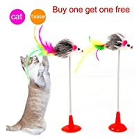 Top Quality Pet Cat Toy Cute Mouse Chuck Spring Cat Tease Design Bird Feather Wand Plastic Toy For Cats Products For Pet