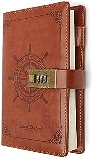 B6 Journal Vintage Brown Rudder Leather Journal Diary Notebook Three-Digit Password Combination Lock Creative