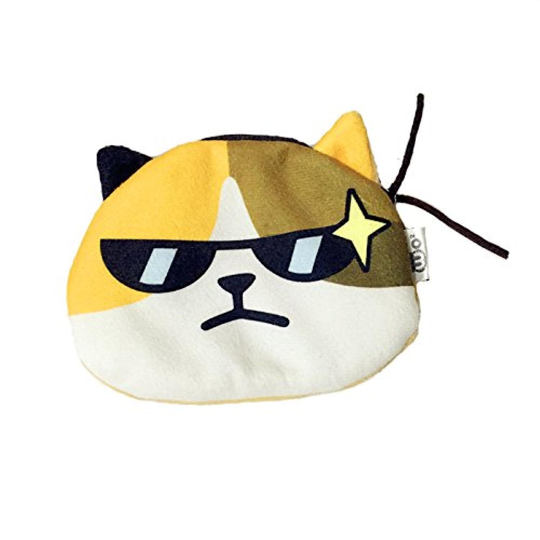 LONGPRO 猫フェイス ミニポーチ 薄型 軽量 財布 小銭入れ 鍵 カード アクセサリー 小物収納 面白い【サングラス)】