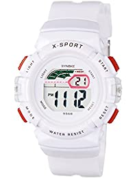 synoke 腕時計 キッズ デジタル 男の子 女の子 小学生 入学祝い ギフト 防水 多機能 スポーツ用 ホワイト