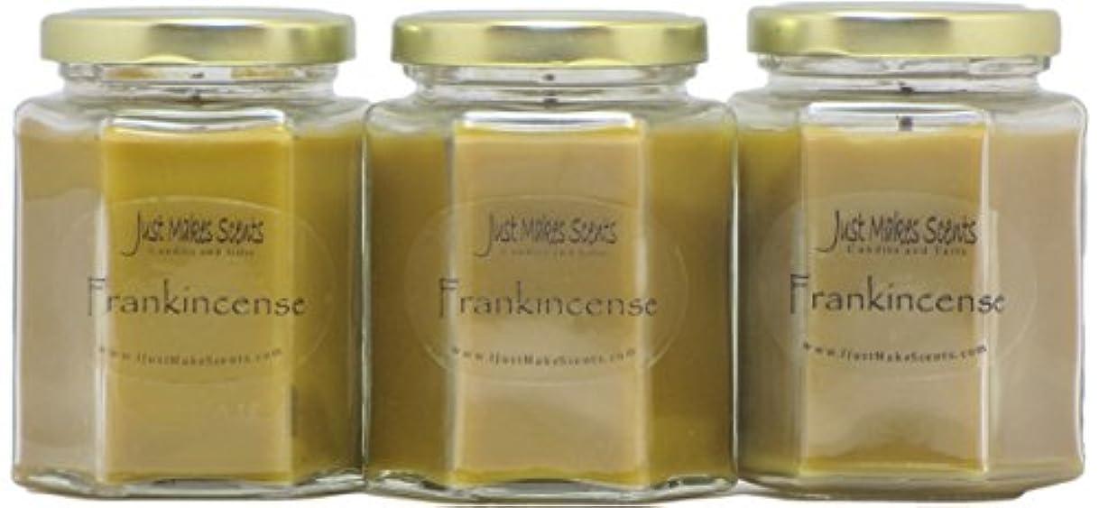 疑い名誉税金Frankincense香りつきBlended Soy Candle by Just Makes Scents 3 Pack ベージュ