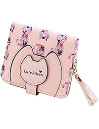 レディース ミニ 二つ折り タッセル 型押し 可愛い 猫柄 小銭 カード 財布