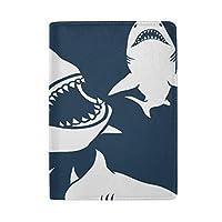 鮫 白 ダックブルー パスポートケース 安全な海外旅行用 高級本革 パスポートカバー 多機能収納ポケット 名刺 クレジットカード 空港券 エアチケット 旅行便利 かわいい 人気 シンプル おしゃれ