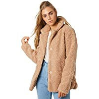 The Hidden Way Women's Cheri Oversized Shirling Coat Polyester Natural