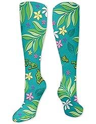 靴下,ストッキング,野生のジョーカー,実際,秋の本質,冬必須,サマーウェア&RBXAA Floral Island Chain Socks Women's Winter Cotton Long Tube Socks Cotton...